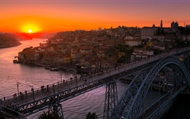 Preview wallpaper Porto, Portugal, city, river, bridge, sunset