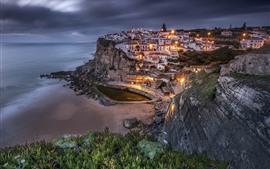 Aperçu fond d'écran Portugal, Sintra, ville, côte, mer, lumières, nuit