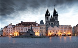 Prague, Czech Republic, city, square, buildings, statue