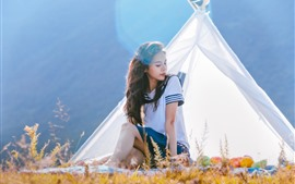 Preview wallpaper Pure school girl, tent
