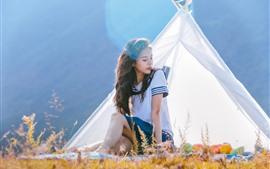 Чистая школьница, палатка