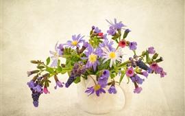 미리보기 배경 화면 보라색 말미잘 꽃, 꽃병