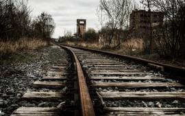 Aperçu fond d'écran Chemin de fer, buissons, crépuscule