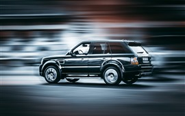 Preview wallpaper Range Rover black SUV car side view, speed