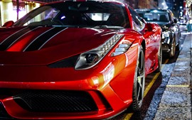 Preview wallpaper Red Ferrari supercar, night