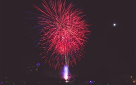 Preview wallpaper Red fireworks, night, holiday
