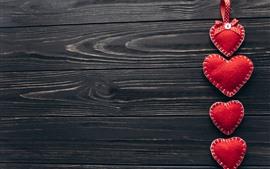 Corações de amor vermelho, decoração, placa de madeira