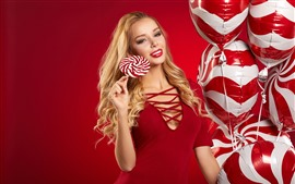 Preview wallpaper Red skirt girl, blonde, lollipop, balloons