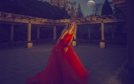 Preview wallpaper Red skirt girl, blonde, moon, night