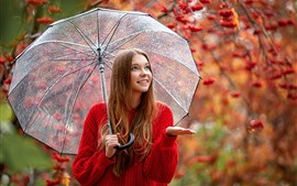 Preview wallpaper Red sweater girl, smile, umbrella, rain