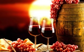 Preview wallpaper Red wine, glass cups, grapes, barrel