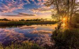 River, trees, grass, sunset, sun rays