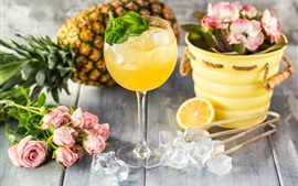 Rose, ice cube, orange juice, pineapple