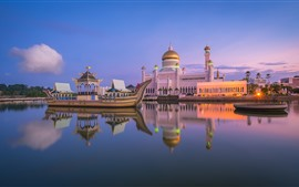 Royal mosque, Brunei, city, boat, river, dusk