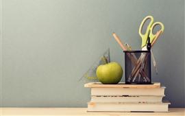 Aperçu fond d'écran Ciseaux, crayon, livre, pomme, nature morte