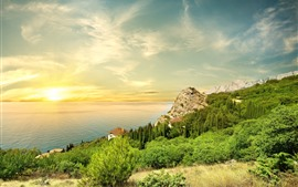 Preview wallpaper Sea, coast, slope, trees, houses, sunset