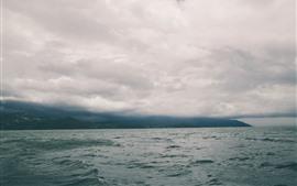 Sea, hills, clouds, dusk