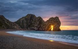 Sea, rocks, arch, beach, sunset, sun rays
