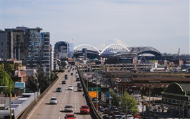 Preview wallpaper Seattle, city, roads, cars, traffic, USA