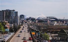 Aperçu fond d'écran Seattle, ville, routes, voitures, trafic, USA