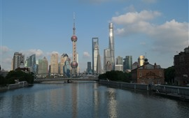 Shanghai, chine, ville, rivière, tour, gratte-ciels