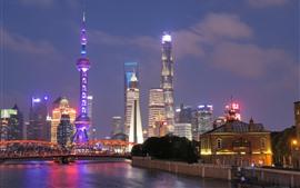 Shanghai at night, cityscape, skyscrapers, lights, river, bridge, China