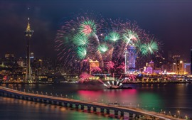 Xangai, belo show de fogos de artifício, rio, ponte, noite, China