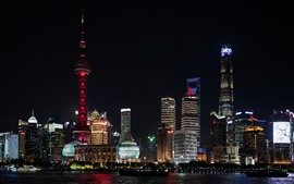 Preview wallpaper Shanghai beautiful night cityscape, river, skyscrapers, lights