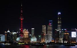 Shanghai hermosa noche paisaje urbano, río, rascacielos, luces