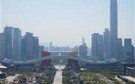 Centre civique de Shenzhen, gratte-ciels, brouillard, Chine
