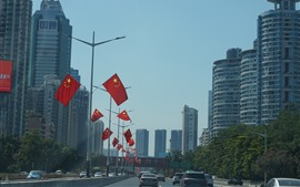 Preview wallpaper Shenzhen, city, road, cars, flags, buildings, China