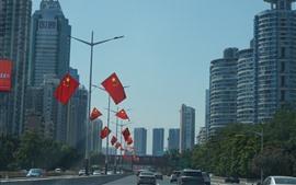 Shenzhen, cidade, estrada, carros, bandeiras, edifícios, china