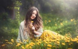 Smile girl, brown hair, yellow flowers, spring