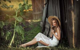 Smile young girl, white skirt, hat, sunflowers, summer