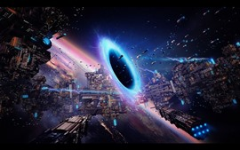 Preview wallpaper Space, black hole, planet, spaceship