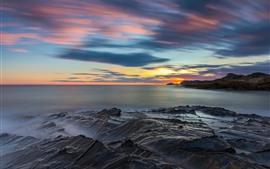 Spain, Murcia, sea, coast, sunset, clouds