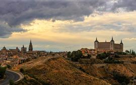 Espanha, toledo, cidade, nuvens, anoitecer