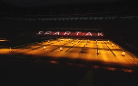 Spartacus Football Stadium, night, lights
