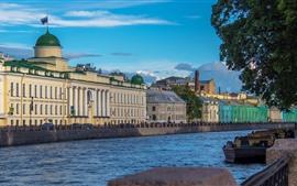 São Petersburgo, rio, casas, árvores