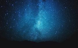Stars, starry, blue, night, silhouette