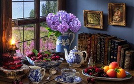 Preview wallpaper Still life, cherry, hydrangea, peach, tea, books, lamp, window