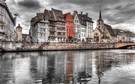 Strasbourg, France, city, river, clouds, dusk