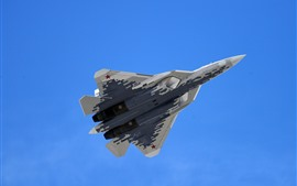 Preview wallpaper Su-57 multi-role fighter flight, blue sky