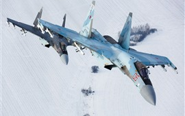 Preview wallpaper Sukhoi Su-35S fighter flight, snow, winter