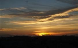 Pôr do sol, nuvens, paisagem natureza