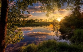Pôr do sol paisagem, árvores, grama, rio, sol