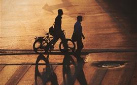 Puesta de sol, calle, personas, silueta