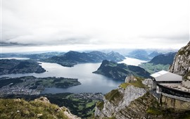 Preview wallpaper Switzerland, mountains, river, city, top view