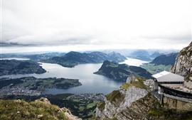 Suíça, montanhas, rio, cidade, vista superior