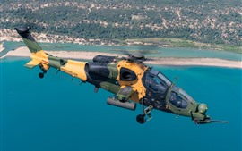 Preview wallpaper T-129B attack helicopter, flight, sea